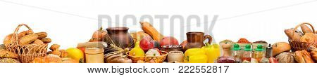 Wide photo with fresh fruits, vegetables, bread, dairy products, spices isolated on white background. Copy space