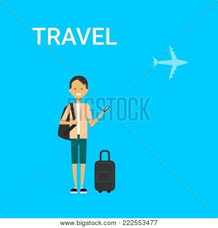 Man Traveller With Bag Holding Smart Phone Gadget Young Caucasian Guy Travel On Air Blue Background With Airplane Flat Vector Illustration