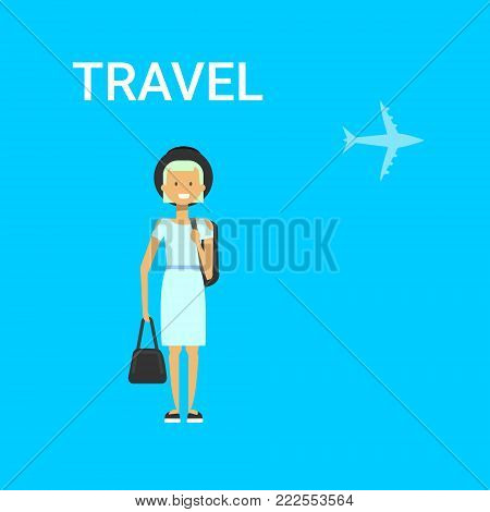 Woman Traveller With Bag Young Caucasian Female Travel On Air Blue Background With Airplane Flat Vector Illustration