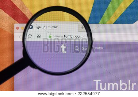 Sankt-Petersburg, Russia, January 11, 2018:  Apple iMac with Tumblr homepage on monitor screen under magnifying glass. Homepage of Tumblr.com. Tumblr is microblogging and social networking service.