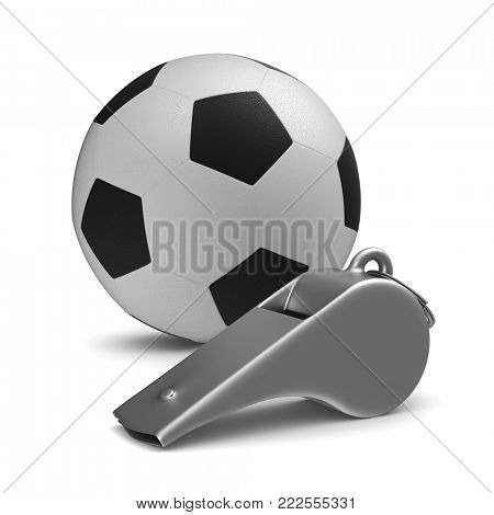 Metal whistle and soccer ball on white background. Isolated 3D illustration