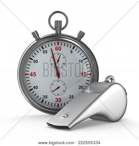 Metal whistle and stopwatch on white background. Isolated 3D illustration