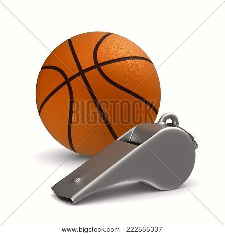 Metal whistle and basketball ball on white background. Isolated 3D illustration