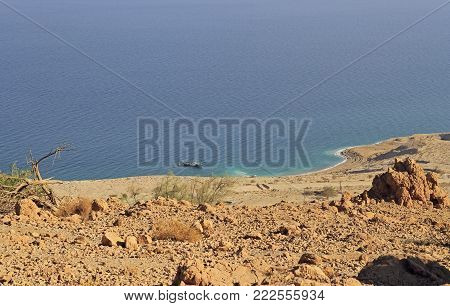 coast of the Dead Sea near Ein Gedi, Israel