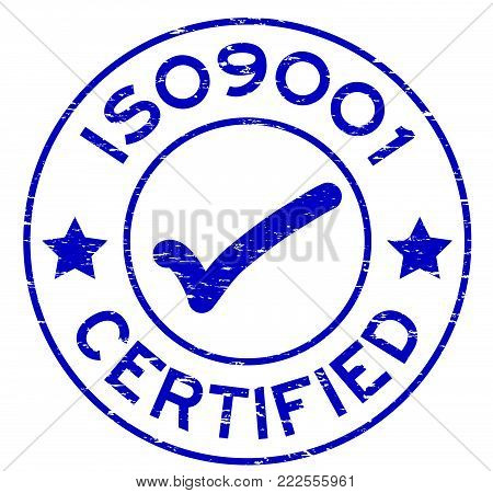 Grunge blue ISO9001 certified round rubber seal stamp on white background