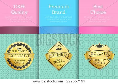 100 guarantee premium brand best choice set of posters golden labels guarantee stickers awards, vector illustration certificates with text isolated