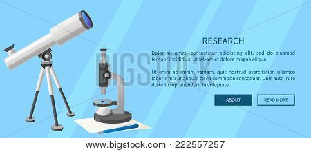 Research web banner with modern refractor telescope with steel tripod and microscope with small purple object on stage isolated vector illustrations