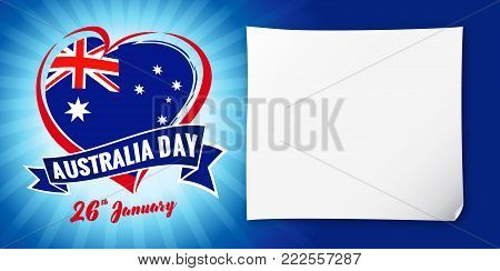 Australia day 26 January, flag and heart blue banner. Vector illustration for 26th january Happy Australia day lettering banner with heart national flag and text on navy blue stripes background