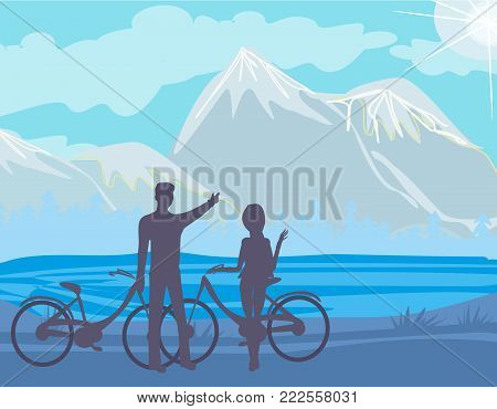 Sillhouette of couple  standing in the park , vector illustration