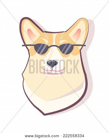 Dog emoticon puppy wearing black glasses and looking cool, pet with opened mouth with teeth and fangs, vector illustration isolated on white