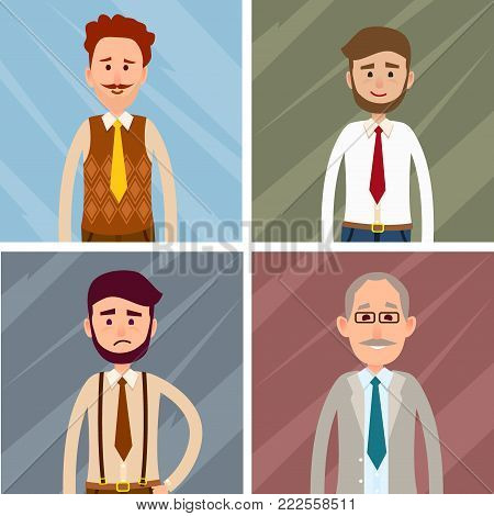 Set of four icons of male characters on abstract background. Vector illustration of two hipsters, old man and caucasian person. People dressed in white shirt and different cravats of various age
