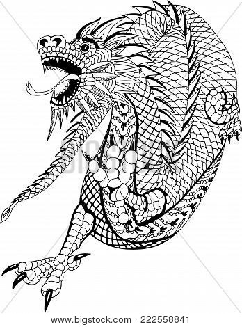 Chinese dragon. Hand drawn patterns for coloring.