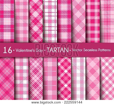 Happy Valentine's Day! Set Tartan of Love and Romantic Backgrounds. Collection of Seamless Patterns Plaid with  Pink and White Colors. Female  Flannel Shirt Patterns. Trendy Tiles  Vector Illustration for Wallpapers.