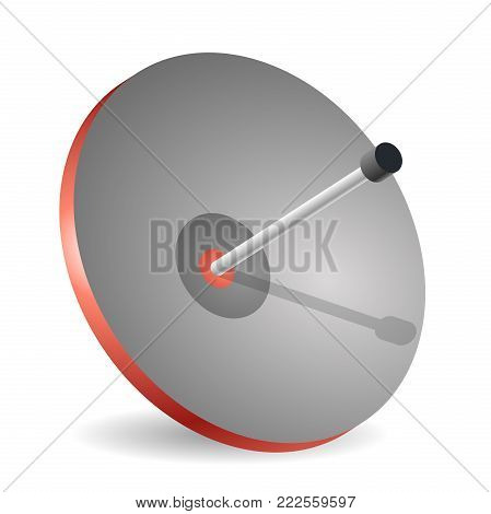 Vector satellite dish in isometric perspective, isolated on white background. Transmission aerial, telephone and television signals. Satellite TV receiver. Communication antenna sign, wireless technology.