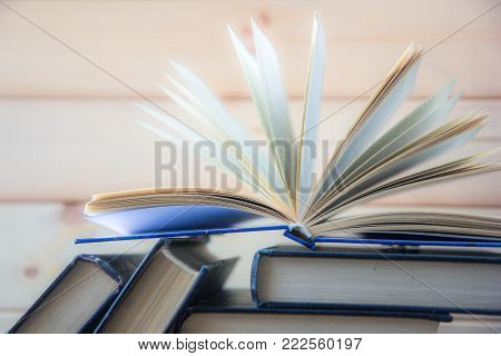 Stack Of Colorful Books. Education Background. Back To School. Book, Hardback Colorful Books On Wood