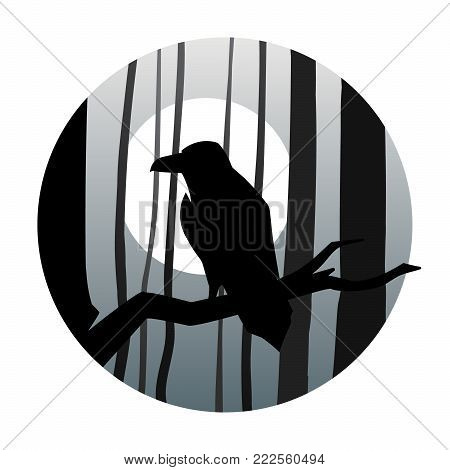 Raven in the background of the moon in the dark forest vector illustration
