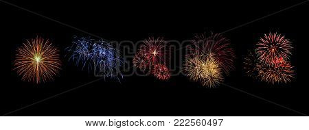 Color Fireworks Set Light Up On Sky With Dazzling Display On Black Background. Event And Celebration