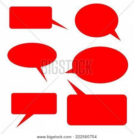 Vector of stickers of speech bubbles. Blank empty white speech bubbles