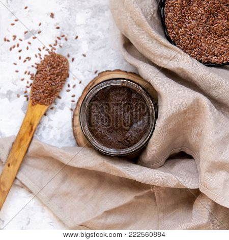 Flaxseed Urbech - Raw Vegan Diet. Traditional Dagestani Paste. Superfood Concept,