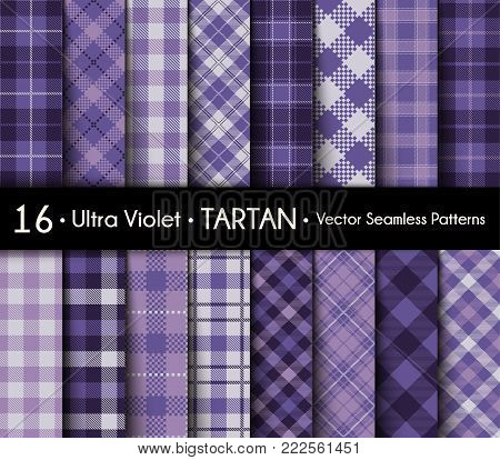 Ultra Violet Set Tartan Seamless Pattern Background. Violet   Color  Plaid.  Flannel Shirt Patterns. Trendy Tiles Vector Illustration for Wallpapers. Color of the Year 2018.