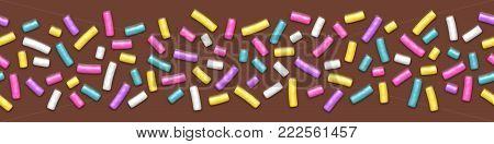 Seamless wide background of chocolate donut glaze with many decorative sprinkles