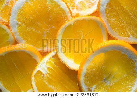 Orange fruit. Orange slices half orange orange background
