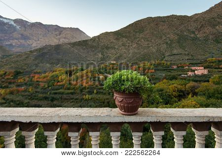 Imlil village, view from hotel, Atlas mountains, Africa