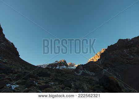 Trekking in the high Atlas to Toubkal mountain - Toubkal national park