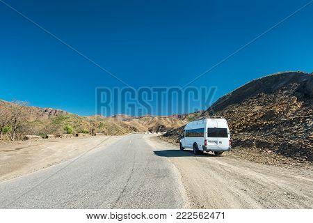 Mountain road, Norh Africa, near Toubkal, Atlas mountains