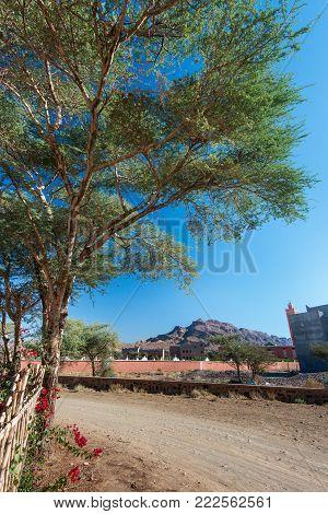 Village road, Norh Africa, near Toubkal, Atlas mountains