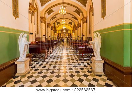 Medellin January 2018  In sunday mornings the church of San Jose in Poblado Medellin is open so people cand admire its interiors built in baroque style
