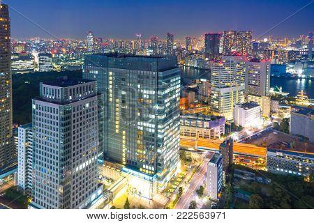 modern buildings in midtown of hangzhou at night