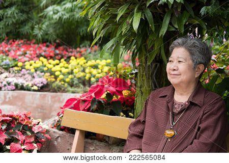 Elder Woman Resting In Garden. Elderly Female Relaxing In Park. Senior Leisure Lifestyle Outdoors.