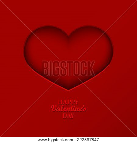 Valentine's Day Concept Background With Origami Heart Shaped Frame. 3D Paper Art Heart. Cute Love Sa