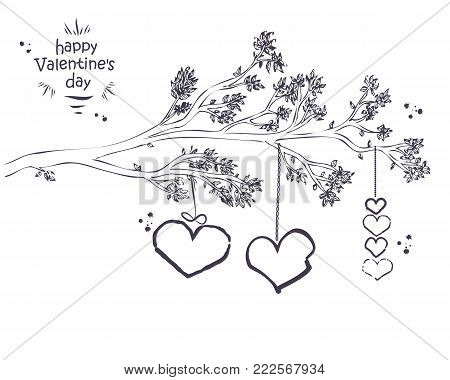 Hand Drawn Branch With Leaves And Hanging Hearts. Ideal For Valentine's Day Card Or Wedding Invitati