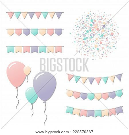 Bunting Party Flags. Delicate Celebration Card. Blue And Purple Holiday Decorations And Confetti. Bu
