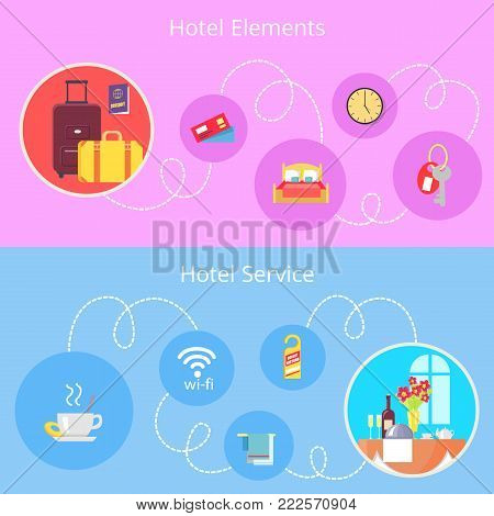 Hotel elements and services expressed by round symbols connected by long white line vector colorful illustration in graphic design