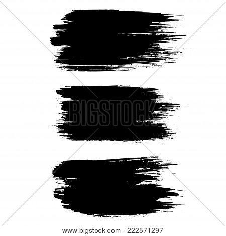 Grunge ink brush strokes set. Freehand black brushes. Handdrawn dry brush black smears. Modern vector illustration