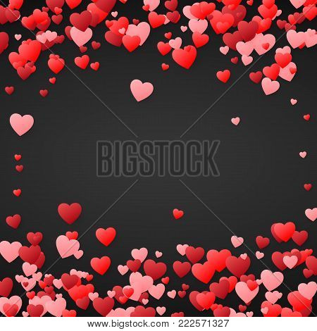 Valentines day background. Design illustration for wedding invitation, Valentines day. Hearts confetti, romantic background. Vector illustration on dark background