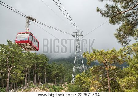 funicular or skilift in the fogy mountains