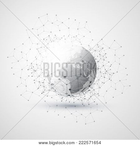 Cloud Computing and Networks Concept with Earth Globe - Global Digital Network Connections, Technology Background, Creative Design Template with Transparent Geometric Grey Wire Mesh