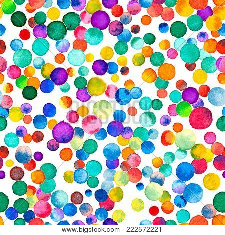 Watercolor Confetti Seamless Pattern. Hand Painted Great Circles. Watercolor Confetti Circles. Purpl