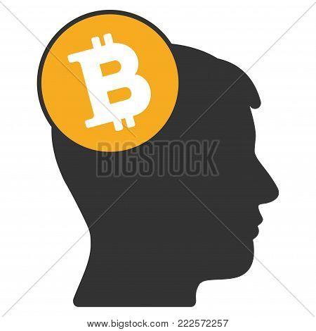 Bitcoin Imagination Head vector icon. Style is flat graphic symbol.