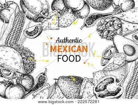 Mexican food sketch label in frame. Vector Traditional cuisines drawing burito, taco, nachos, chili pepper, vegetables. Engraved style vintage template for mexican restaurant, cafe menu. Illustration for banner, brochure, sign.