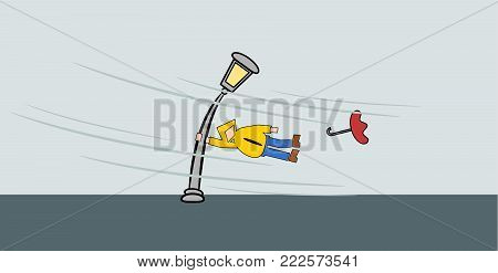 Man hanging on a street lamp, strormy weather concept illustration