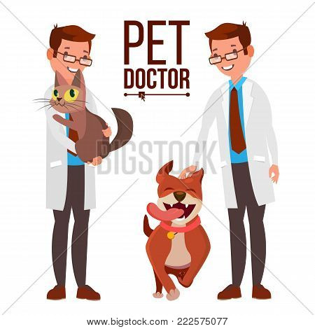 Veterinarian Male Vector. Dog And Cat. Clinic For Animals. Pet Doctor. Treatment For Wild, Domestic Animals. Isolated Flat Cartoon Illustration