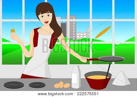 a woman flipping pancakes in the kitchen