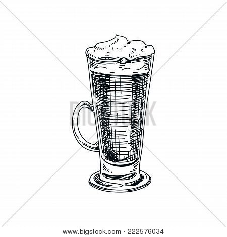Beautiful vector hand drawn beverage Illustration.  Detailed retro style latte macchiato image. Vintage sketch Element for labels design.