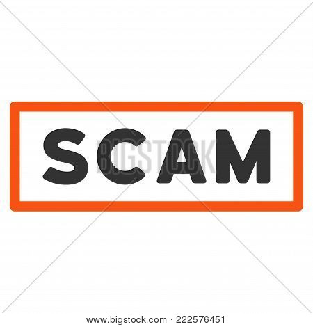Scam Label vector icon. Style is flat graphic symbol.