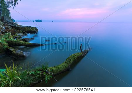 Summer landscape with textured foreground and long exposure